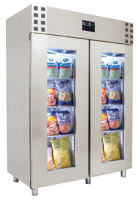 réfrigérateur en INOX double porte avec vitre