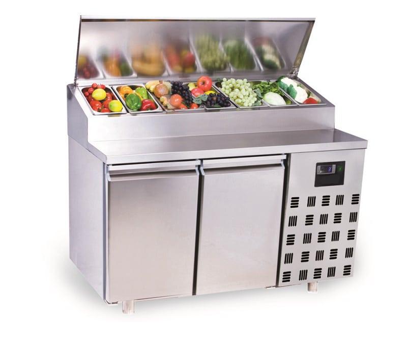 table réfrigéré avec conteneur GN et 2 portes